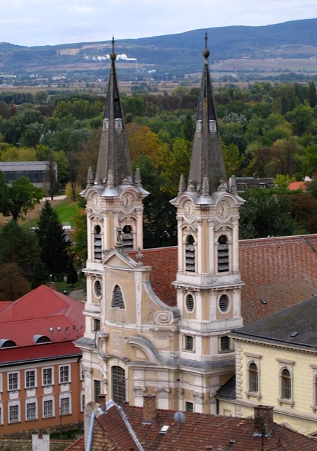 Spires of Esztergom Basilica on the Danube