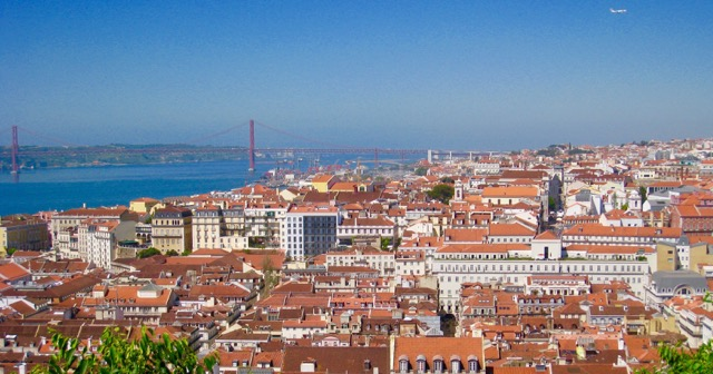 The 25 de Abril Bridge and view of Lisbon.